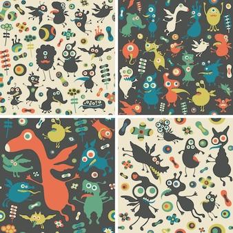 Szczęśliwe potwory bez szwu wzorów zestaw.