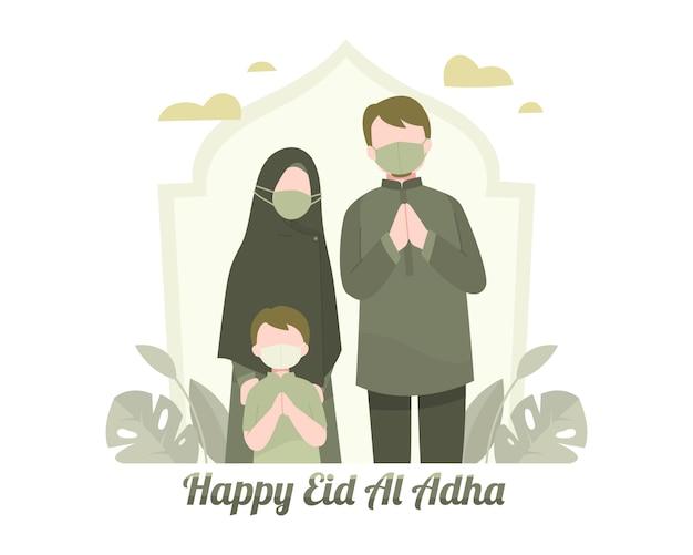 Szczęśliwe pozdrowienia eid al adha z ilustracji rodziny muzułmańskiej