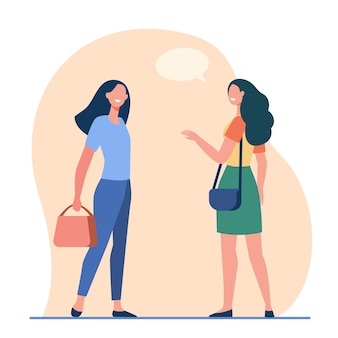 Szczęśliwe przyjazne kobiety rozmawiają na zewnątrz. koleżanki przypadkowe spotkanie ilustracji wektorowych płaski. komunikacja, miejsce publiczne