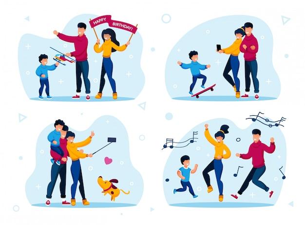Szczęśliwe rodzinne rozrywki płaskie koncepcje