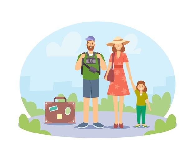 Szczęśliwe rodzinne wakacje. rodzice z dzieckiem w podróży, mama, tata i małe dziecko postaci z bagażem i aparatem fotograficznym zwiedzają światowe zabytki. ilustracja wektorowa kreskówka ludzie