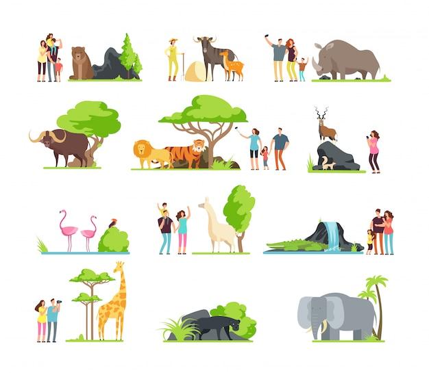 Szczęśliwe rodziny, dzieci z rodzicami i dzikie zwierzęta w zoo w parku dzikich zwierząt.