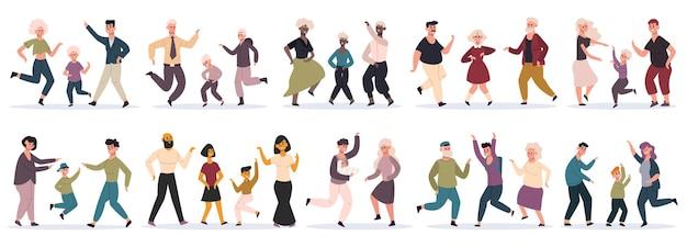 Szczęśliwe rodziny taneczne. rodzice tańczą z dziećmi, mama, tata i dzieci bawią się razem