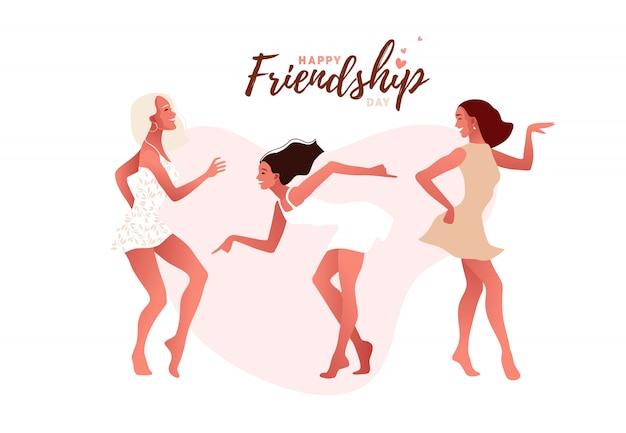 Szczęśliwe seksowne dziewczyny lub przyjaciele tańczą i śmieją się. międzynarodowy dzień przyjaźni
