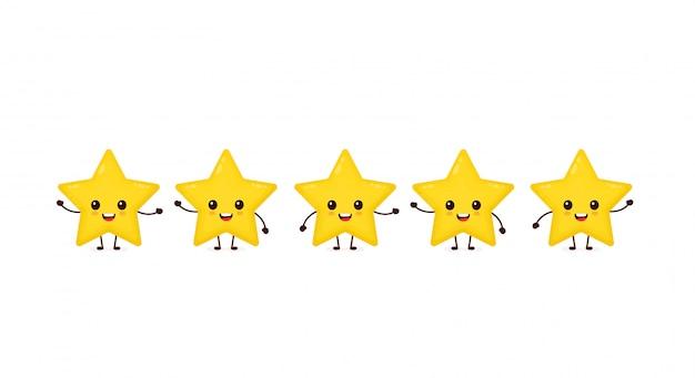 Szczęśliwe śliczne uśmiechnięte śmieszne gwiazdy