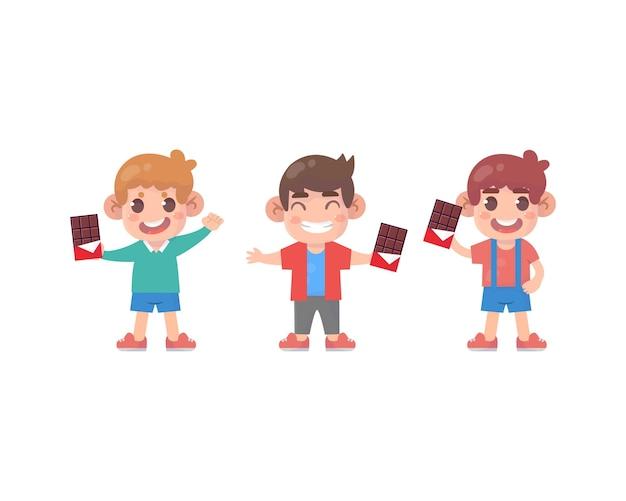 Szczęśliwe słodkie dzieci z ilustracją koncepcji czekolady