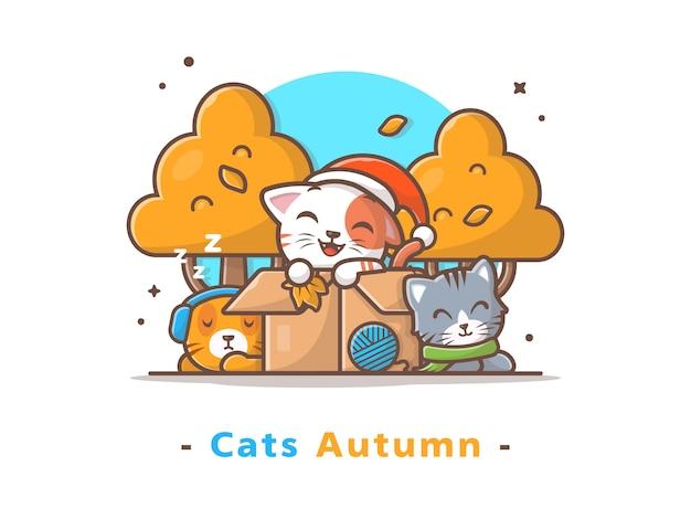 Szczęśliwe słodkie koty noszą szalik w sezonie jesiennym