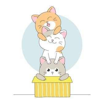 Szczęśliwe słodkie koty w pudełku z przyjaciółmi