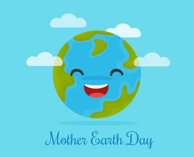 Szczęśliwe świat kreskówki na macierzystym ziemskim dniu.