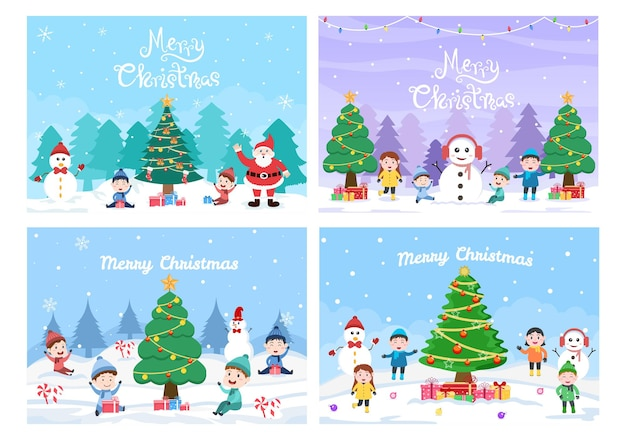 Szczęśliwe święta bożego narodzenia z dziećmi i bałwanem, choinką i prezentem. wektor tła
