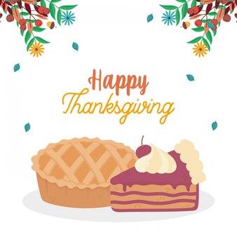 Szczęśliwe święto dziękczynienia ciasto i plasterek ciasto spadają liście