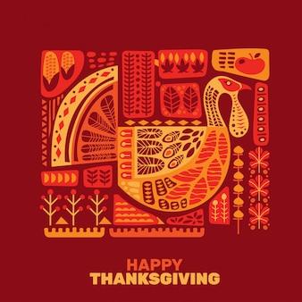 Szczęśliwe święto dziękczynienia indyki i dekoracja z zestawem elementów projektu