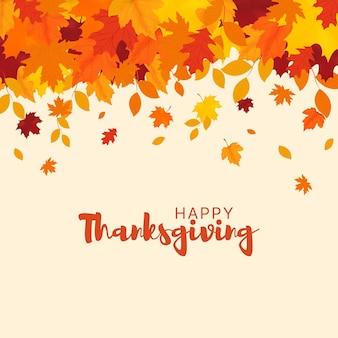 Szczęśliwe tło dziękczynienia jesienne liście na białym tle jesień transparent wektor ilustracja