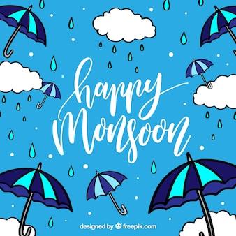Szczęśliwe tło monsunowe