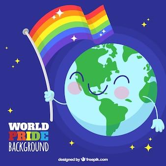 Szczęśliwe tło świata z flagą dumy