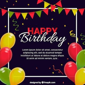 Szczęśliwe tło urodzinowe z kolorowym balonem