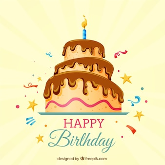 Szczęśliwe tło urodzinowe z tortem