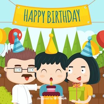 Szczęśliwe tło urodziny rodziny