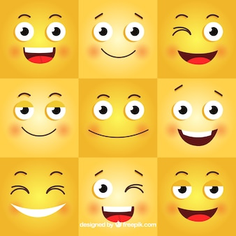 Szczęśliwe tło z dziewięciu różnych emotikonów