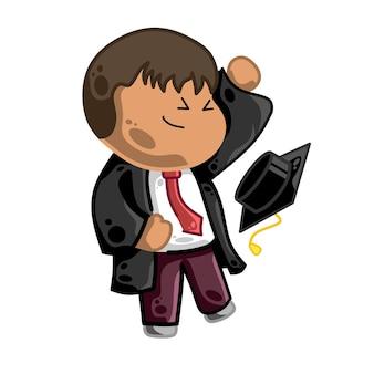 Szczęśliwe ukończenie uniwersytetu czarnoskórego studenta chłopca