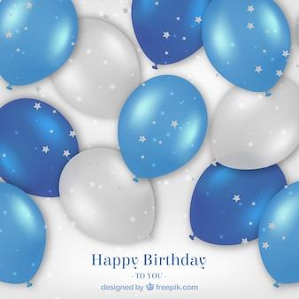 Szczęśliwe urodziny realistyczne balony tle