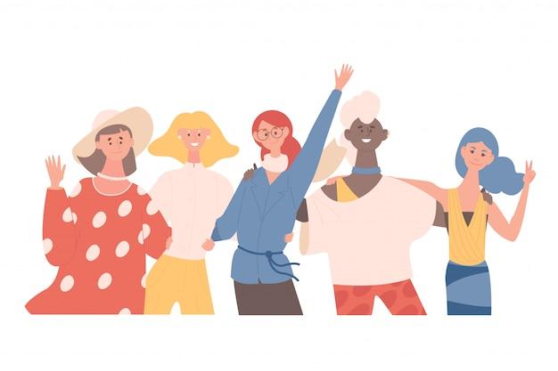 Szczęśliwe uśmiechnięte kobiety przytulanie i machanie rękami płaska ilustracja