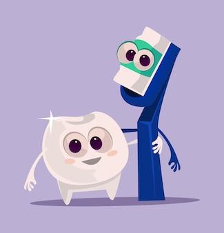 Szczęśliwe uśmiechnięte postacie szczoteczki do zębów i pasty do zębów przytulające najlepszych przyjaciół