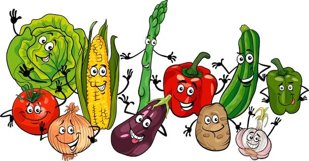 Szczęśliwe Warzywa Grupa Ilustracja Kreskówka Premium Wektorów