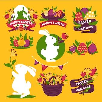 Szczęśliwe wielkanoc pozdrowienie logo znaki kolorowy płaski wektor plakat