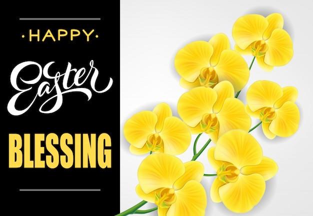 Szczęśliwe wielkanocne błogosławieństwo napis. wielkanocny kartka z pozdrowieniami z phalaenopsis.
