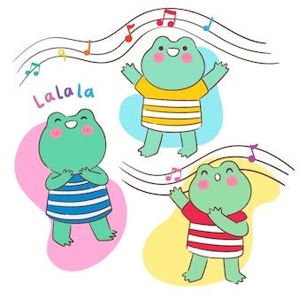 Szczęśliwe żaby kawaii śpiewają
