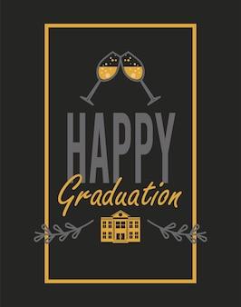 Szczęśliwe zaproszenie na ukończenie szkoły z kubkami szampana