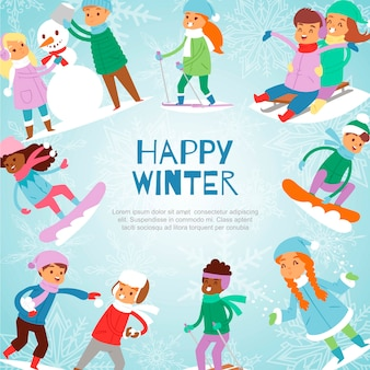 Szczęśliwe zima dzieciaków gry plenerowe z śnieżną ilustracją.