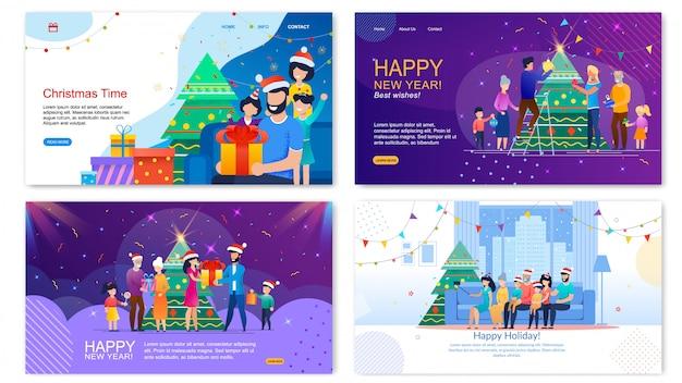 Szczęśliwe zimowe wakacje zestaw bannerów płaskich internetowych