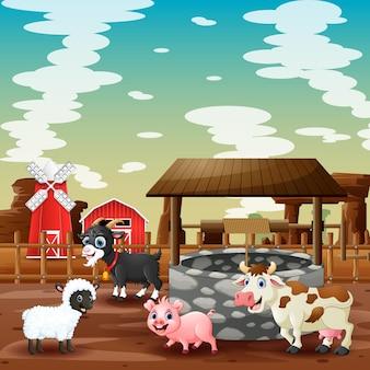 Szczęśliwe zwierzęta gospodarskie na ilustracji gruntów rolnych