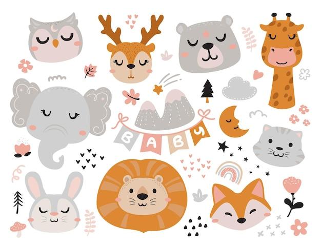 Szczęśliwe zwierzęta na element baby shower