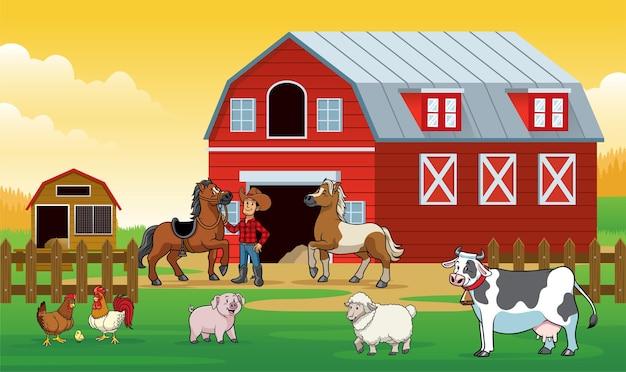Szczęśliwe zwierzęta na farmie z rolnikiem