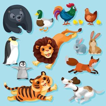 Szczęśliwe zwierzęta w różnych pozach