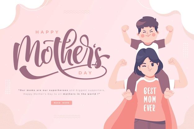 Szczęśliwe życzenia na dzień matki i baner z napisami