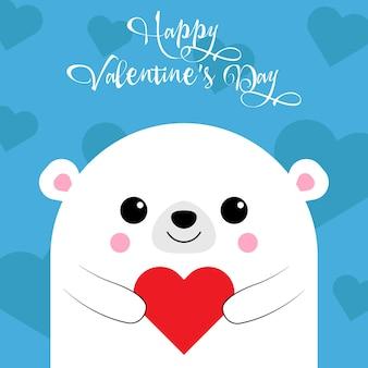 Szczęśliwe życzenia walentynkowe od uroczego misia z sercem na niebieskim tle. karta miłości. ilustracja wektorowa. eps 10