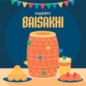Szczęśliwego baisakhi z perkusją i napojem
