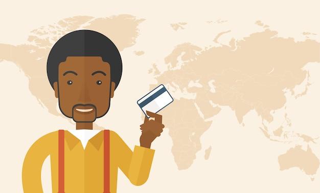 Szczęśliwego biznesmena trwanie mienia kredytowa karta.
