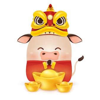 Szczęśliwego chińskiego nowego roku 2021. projekt postaci z kreskówki mały wół z głową tańca smoka