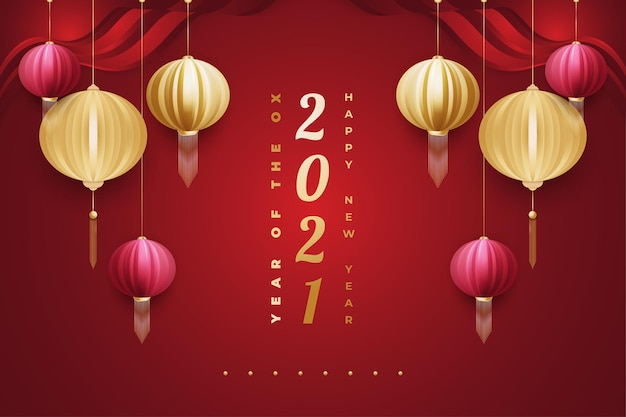 Szczęśliwego chińskiego nowego roku 2021 rok wołu. transparent księżycowy nowy rok z czerwonym i złotym