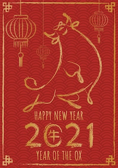 Szczęśliwego chińskiego nowego roku 2021 rok wołu.