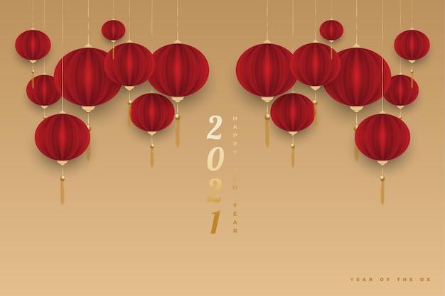 Szczęśliwego chińskiego nowego roku 2021 roku wołu