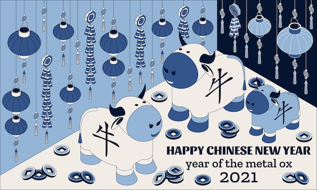 Szczęśliwego chińskiego nowego roku tło z kreatywnymi białym wół i wiszącymi lampionami. tłumaczenie ox