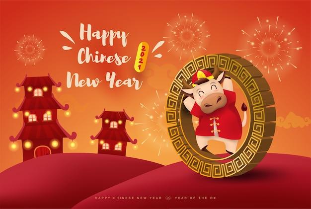 Szczęśliwego chińskiego nowego roku zodiak wół. ładny charakter krowy w czerwonym stroju.