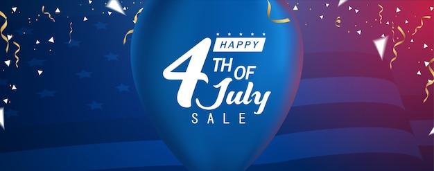 Szczęśliwego czwartego lipca sprzedaż, transparent sprzedaży szczęśliwy dzień niezależny