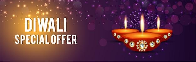 Szczęśliwego diwali banner strony internetowej festiwalu świateł